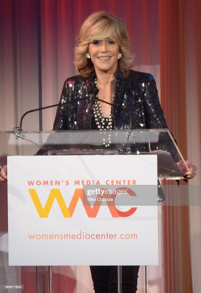 Actress <a gi-track='captionPersonalityLinkClicked' href=/galleries/search?phrase=Jane+Fonda&family=editorial&specificpeople=202174 ng-click='$event.stopPropagation()'>Jane Fonda</a> speaks onstage at the 2013 Women's Media Awards on October 8, 2013 in New York City.