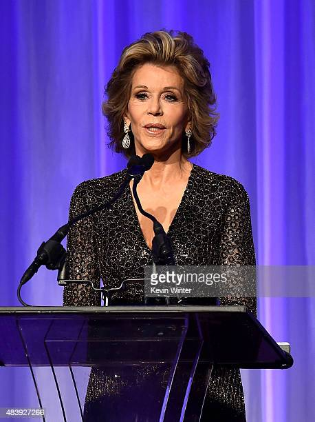 Actress Jane Fonda speaks onstage during HFPA Annual Grants Banquet at the Beverly Wilshire Four Seasons Hotel on August 13 2015 in Beverly Hills...
