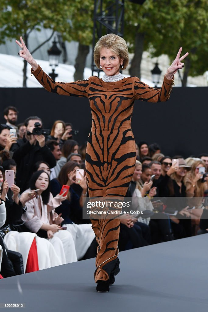 Actress Jane Fonda walks the runway during the Le Defile L'Oreal Paris Spring Summer 2018 show as part of Paris Fashion Week at Avenue des Champs-Elysees on October 1, 2017 in Paris, France.