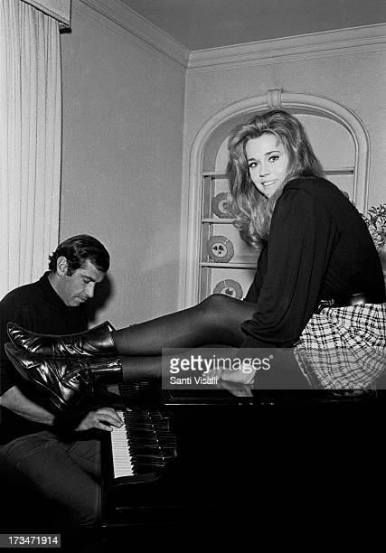 Actress Jane Fonda with husband Roger Vadim posing for a photo on December 101967 in New York New York