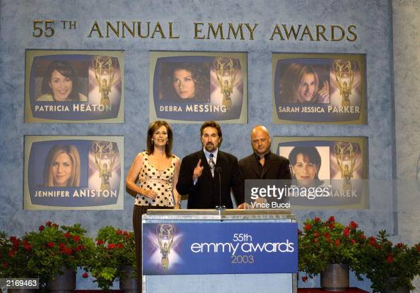 Actress Jane Kaczmarek Academy of Television Arts and Sciences Chairman Bryce Zabel and actor Michael Chiklis annouce the nominees for 'Outstanding...