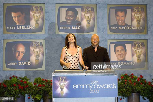 Actress Jane Kaczmarek and actor Michael Chiklis annouce the nominees for 'Best Actor in a Comedy Series' on stage during the 55th Annual Primetime...
