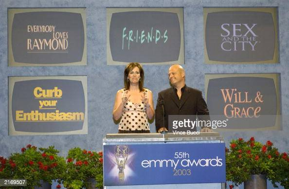 Actress Jane Kaczmarek and actor Michael Chiklis annouce the nominees for 'Outstanding Comedy Series' on stage during the 55th Annual Primetime Emmy...