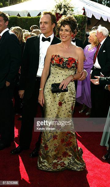 Actress Jane Kaczmarek and husband Bradley Whitford attend the 56th Annual Primetime Emmy Awards on September 19 2004 at the Shrine Auditorium in Los...