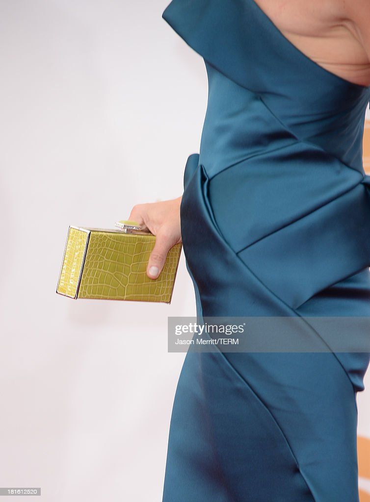 Actress Jane Krakowski (handbag detail - Judith Leiber Couture Jellybean Crocodile Rectangle Clutch in Chartreuse) arrives at the 65th Annual Primetime Emmy Awards held at Nokia Theatre L.A. Live on September 22, 2013 in Los Angeles, California.