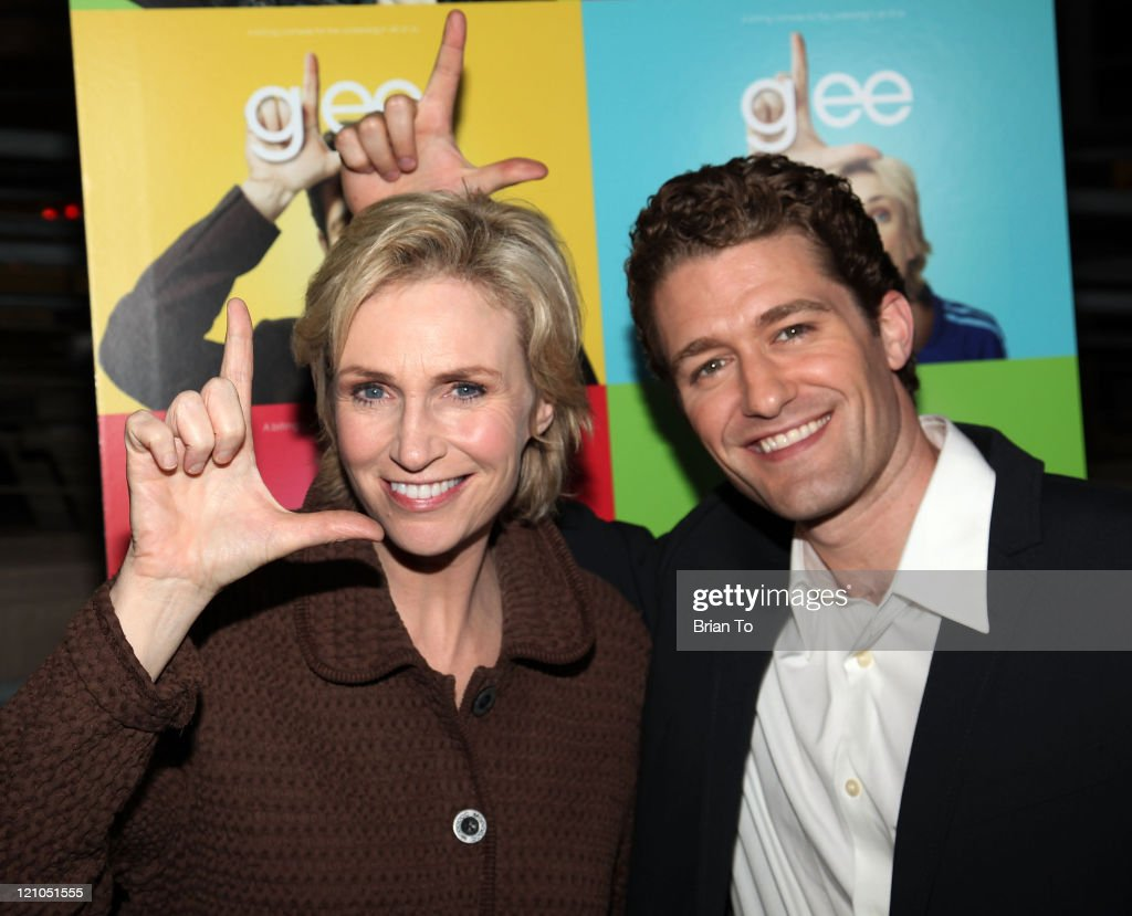 Actress Jane Lynch and Matthew Morrison arrive at 'Glee' Los Angeles Premiere Event at Santa Monica High School on May 11 2009 in Santa Monica...