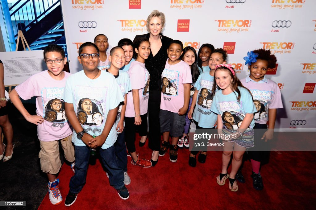 Actress <a gi-track='captionPersonalityLinkClicked' href=/galleries/search?phrase=Jane+Lynch&family=editorial&specificpeople=663918 ng-click='$event.stopPropagation()'>Jane Lynch</a> and members of the PS22 Chorus attend The Trevor Project's 2013 'TrevorLIVE' Event Honoring Cindy Hensley McCain at Chelsea Piers on June 17, 2013 in New York City.