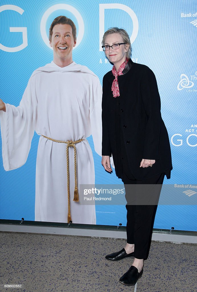 Actress Jane Lynch arrives at Opening Night of 'An Act Of God' at Ahmanson Theatre on February 10 2016 in Los Angeles California