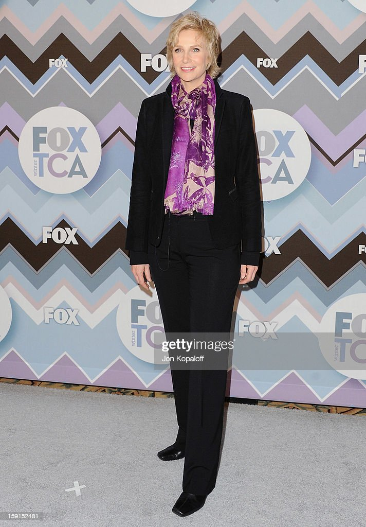 Actress Jane Lynch arrives at the 2013 Winter TCA FOX All-Star Party at The Langham Huntington Hotel and Spa on January 8, 2013 in Pasadena, California.