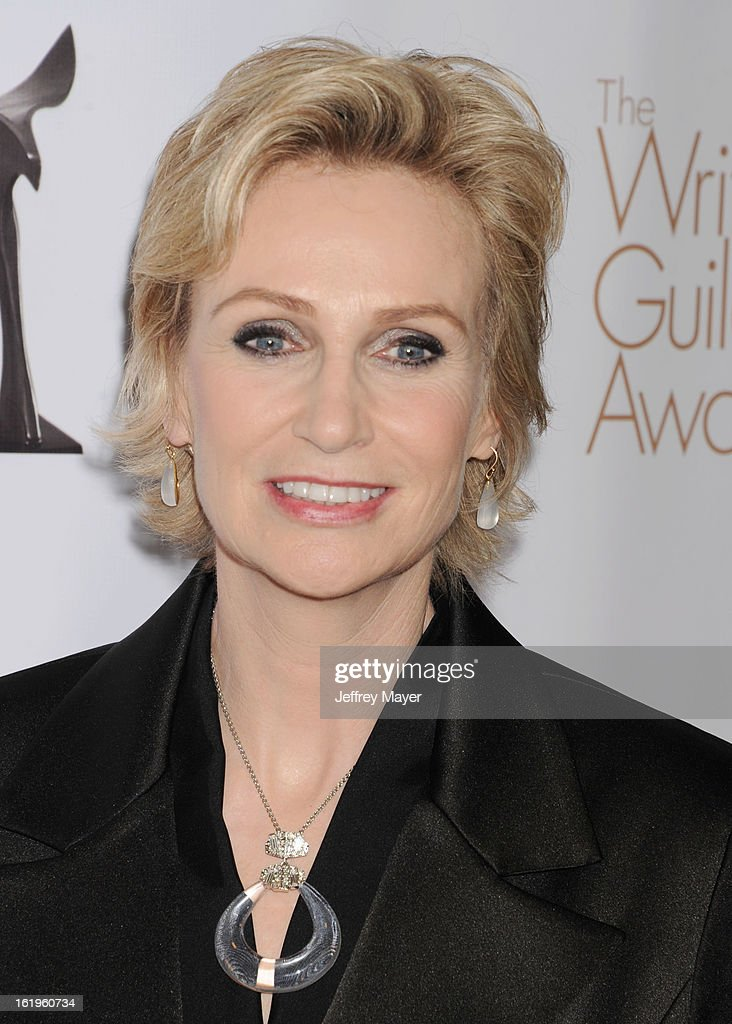 Actress Jane Lynch arrives at the 2013 Writers Guild Awards at JW Marriott Los Angeles at L.A. LIVE on February 17, 2013 in Los Angeles, California.