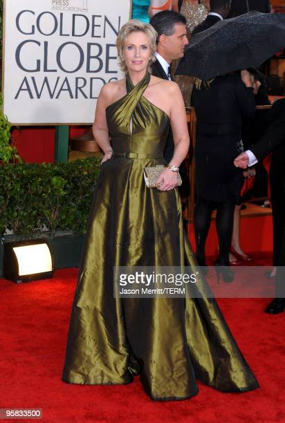 Actress Jane Lynch arrives at the 67th Annual Golden Globe Awards held at The Beverly Hilton Hotel on January 17 2010 in Beverly Hills California