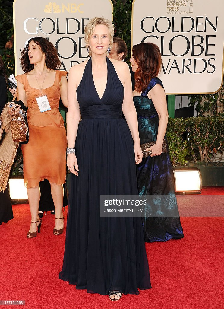 Actress Jane Lynch arrives at the 69th Annual Golden Globe Awards held at the Beverly Hilton Hotel on January 15 2012 in Beverly Hills California