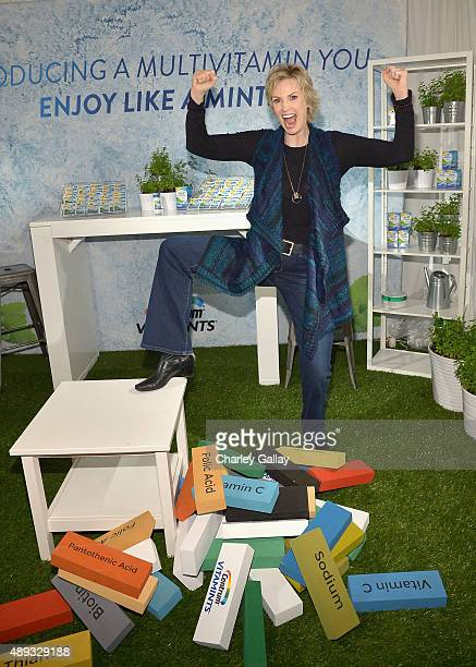 Actress Jane Lynch poses with Centrum Vitamints at EXTRA's 'WEEKEND OF | LOUNGE' produced by On 3 Productions at The London West Hollywood on...