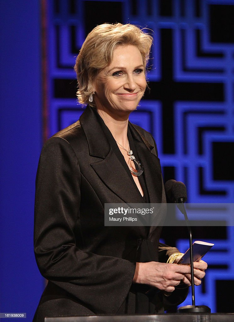 Actress Jane Lynch speaks onstage during the 2013 WGAw Writers Guild Awards at JW Marriott Los Angeles at L.A. LIVE on February 17, 2013 in Los Angeles, California.