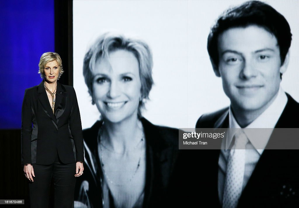 Actress Jane Lynch speaks onstage during the 65th Annual Primetime Emmy Awards held at Nokia Theatre LA Live on September 22 2013 in Los Angeles...