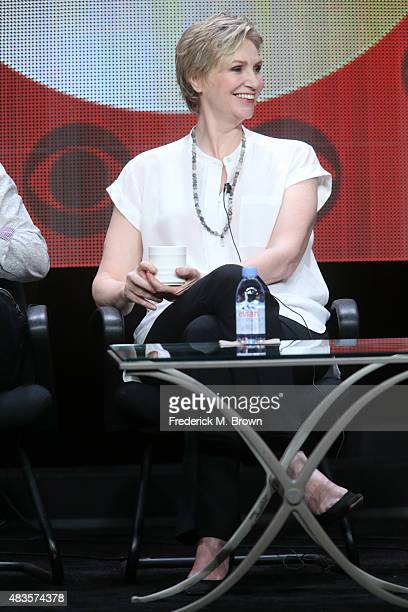 Actress Jane Lynch speaks onstage during the 'Angel from Hell' panel discussion at the CBS portion of the 2015 Summer TCA Tour at The Beverly Hilton...