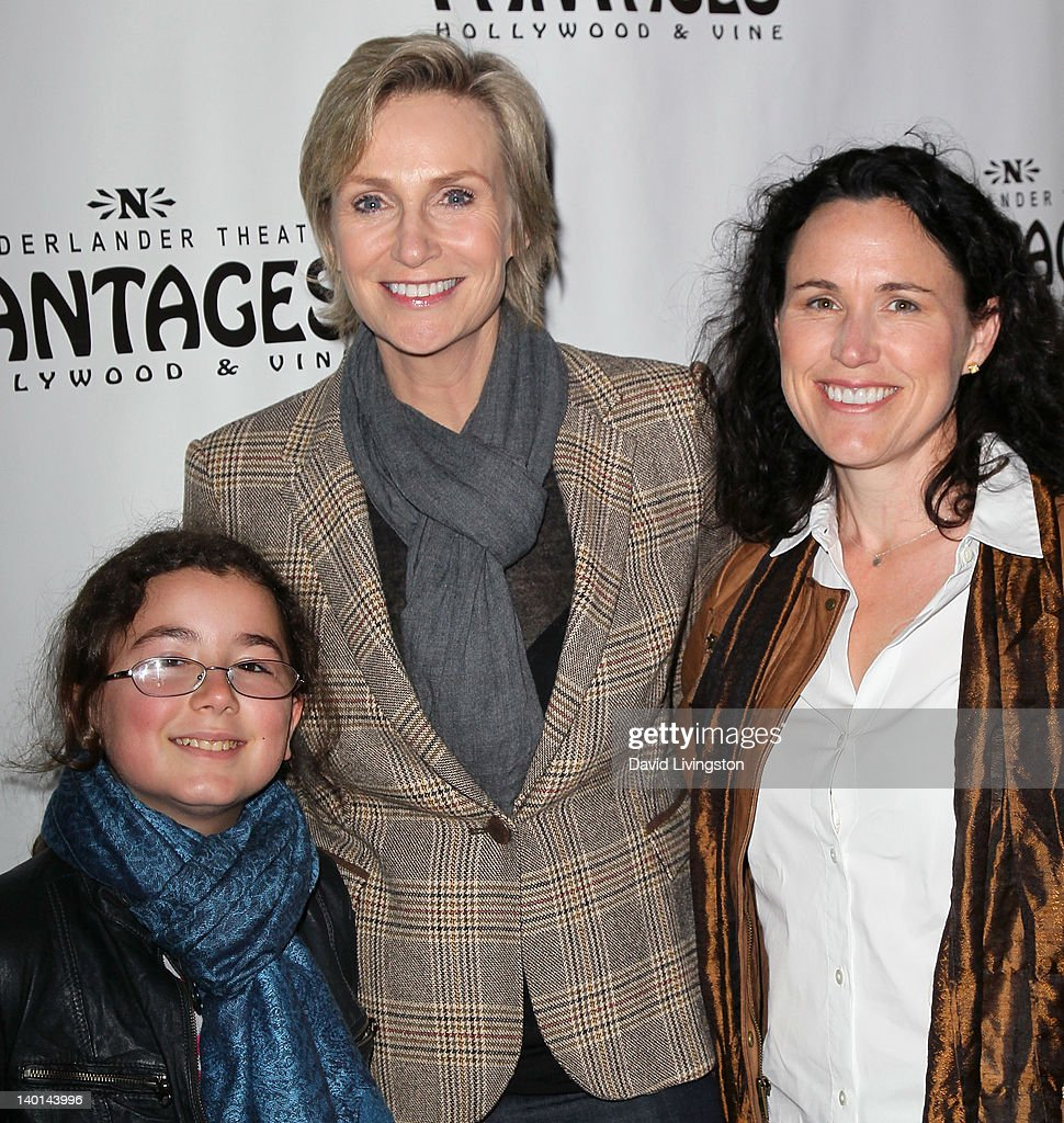 Actress <a gi-track='captionPersonalityLinkClicked' href=/galleries/search?phrase=Jane+Lynch&family=editorial&specificpeople=663918 ng-click='$event.stopPropagation()'>Jane Lynch</a> (C), stepdaughter Haden Collett Ryan-Embry (L) and Dr. <a gi-track='captionPersonalityLinkClicked' href=/galleries/search?phrase=Lara+Embry&family=editorial&specificpeople=7039580 ng-click='$event.stopPropagation()'>Lara Embry</a> (R) attend the opening night of 'Monty Python's Spamalot' at the Pantages Theatre on February 28, 2012 in Hollywood, California.