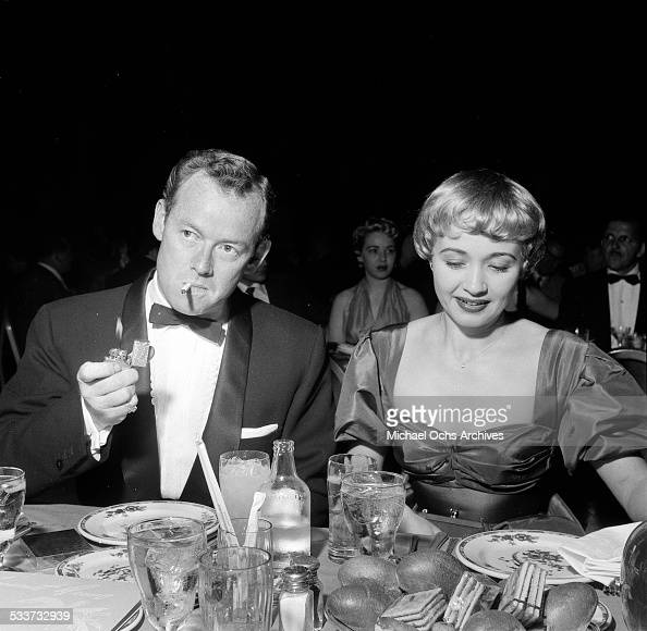 Actress Jane Powell and her husband Patrick Nerney at the Cocoanut Grove to listen to singer Vic Damone in Los AngelesCA