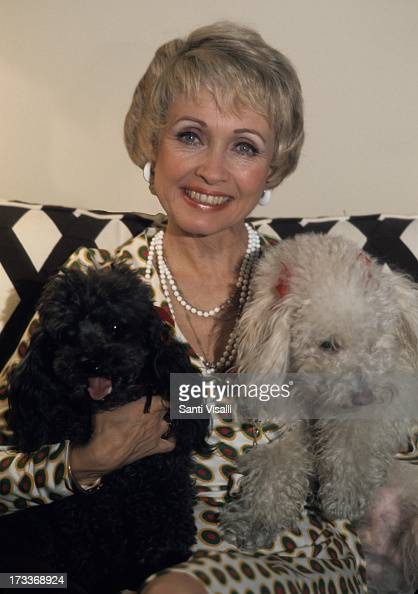 Actress Jane Powell posing for a portrait with dogs on July 101974 in New York New York