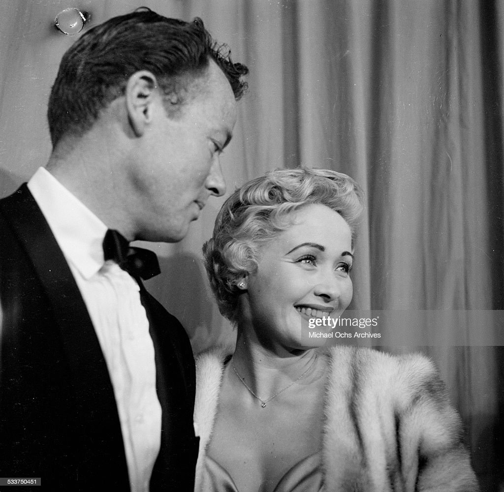 Actress Jane Powell with husband Patrick Nerney attend the Academy Awards dinner party in Los AngelesCA