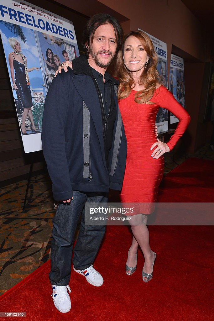 Actress Jane Seymour and actor <a gi-track='captionPersonalityLinkClicked' href=/galleries/search?phrase=Clifton+Collins+Jr.&family=editorial&specificpeople=540063 ng-click='$event.stopPropagation()'>Clifton Collins Jr.</a> arrive to the premiere of Salient Media's 'Freeloaders' at Sundance Cinema on January 7, 2013 in Los Angeles, California.