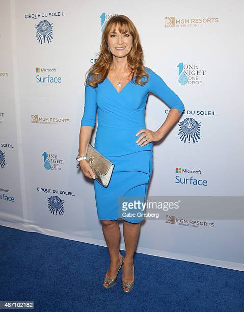 Actress Jane Seymour arrives at the 'One Night For ONE DROP' blue carpet event at 1 OAK Nightclub at The Mirage Hotel Casino on March 20 2015 in Las...