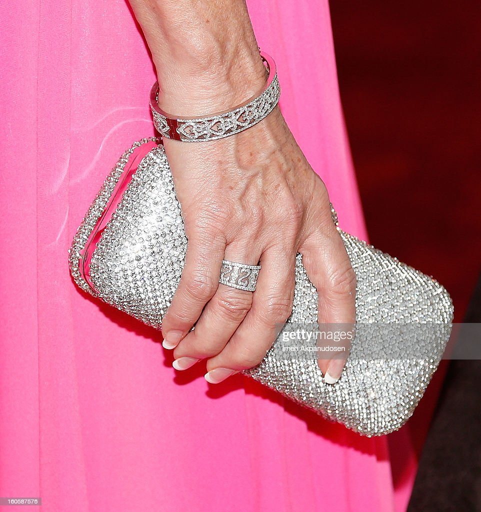Actress Jane Seymour (clutch and jewelry detail) attends the 17th Annual Art Directors Guild Awards For Excellence In Production Design at The Beverly Hilton Hotel on February 2, 2013 in Beverly Hills, California.