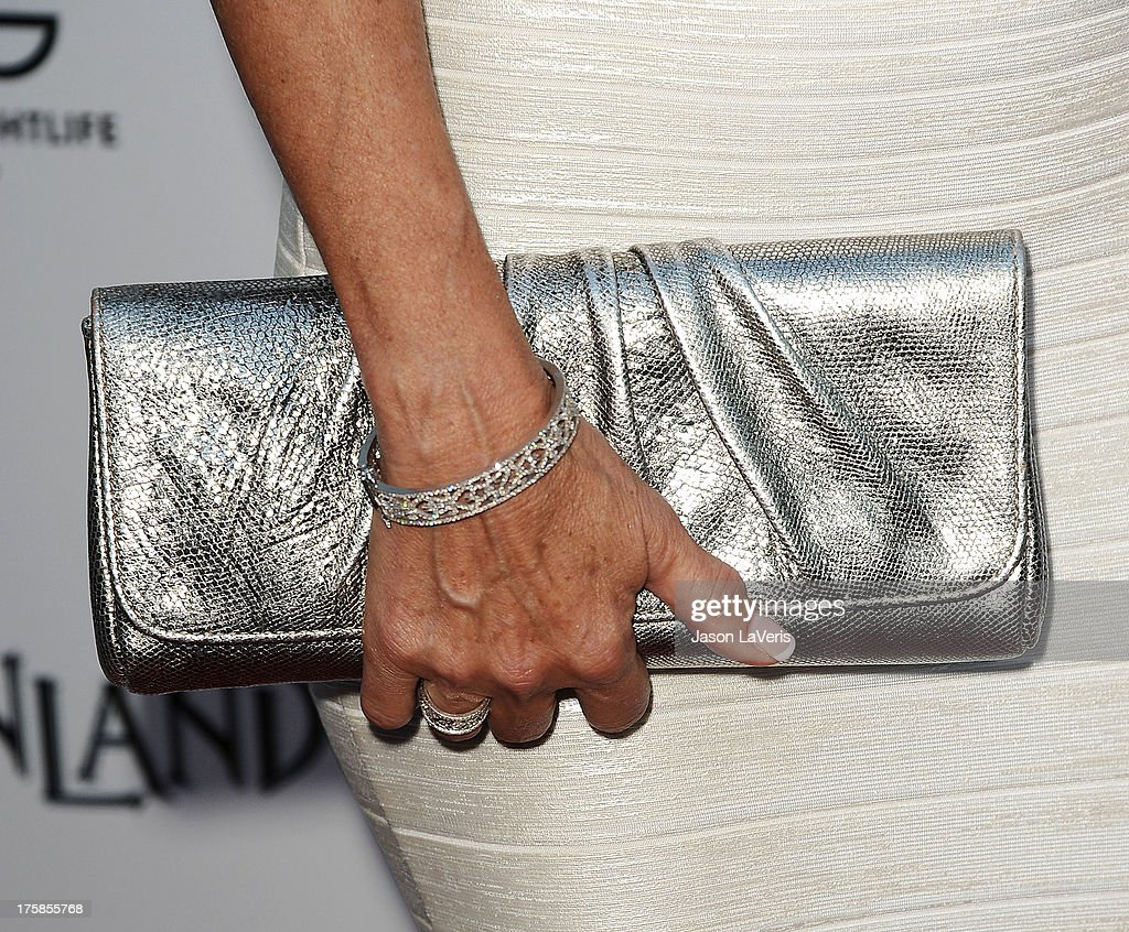 Actress Jane Seymour (handbag and jewelry detail) attends the premiere of 'Austenland' at ArcLight Hollywood on August 8, 2013 in Hollywood, California.