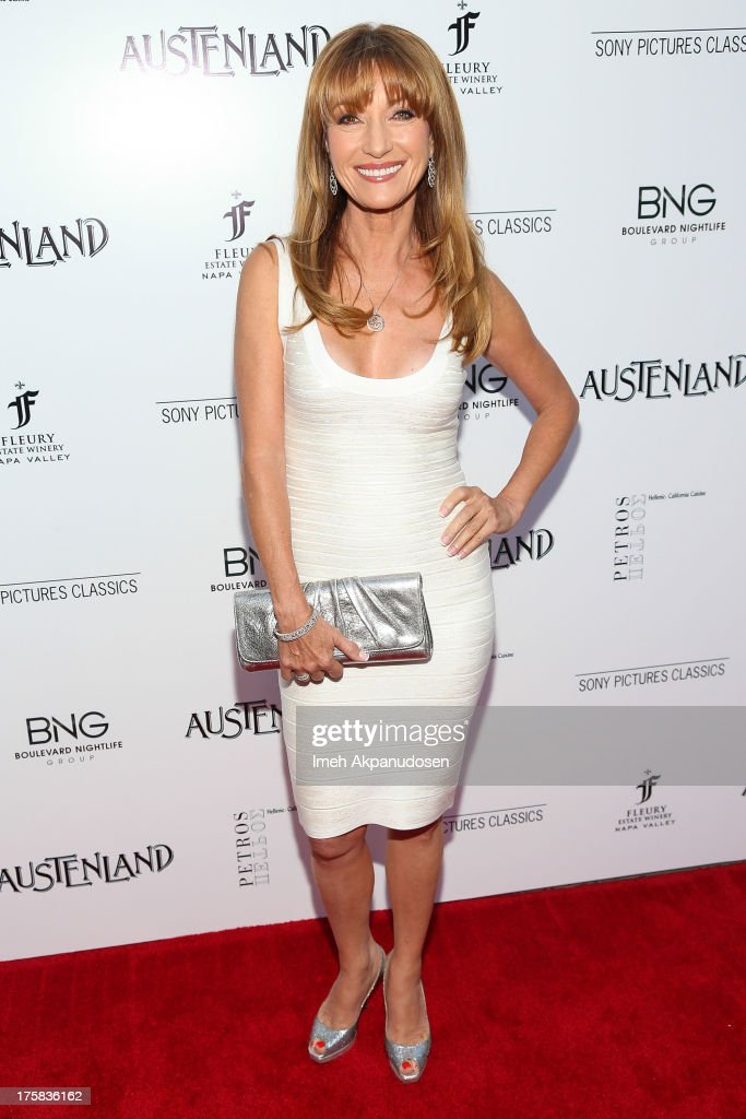 Actress <a gi-track='captionPersonalityLinkClicked' href=/galleries/search?phrase=Jane+Seymour+-+Attrice&family=editorial&specificpeople=203060 ng-click='$event.stopPropagation()'>Jane Seymour</a> attends the premiere of Sony Pictures Classics' 'Austenland' at ArcLight Hollywood on August 8, 2013 in Hollywood, California.