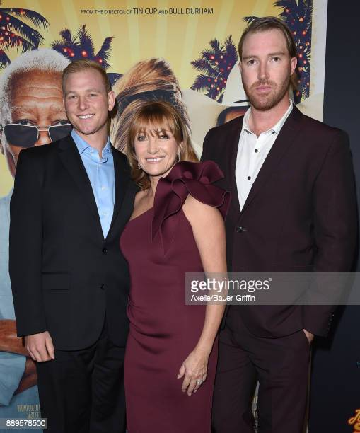 Actress Jane Seymour sons John Stacy Keach and Sean Flynn arrive at the premiere of 'Just Getting Started' at ArcLight Hollywood on December 7 2017...