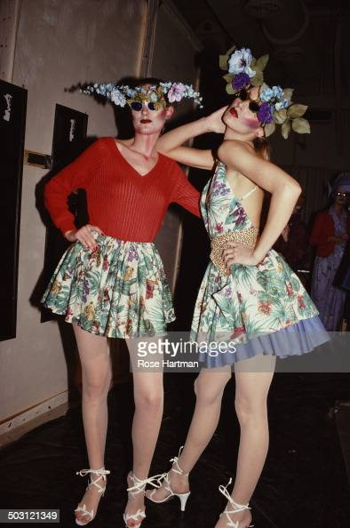 Actress Jane Thorvaldson and American model and actress Jerry Hall backstage after a fashion show 1979