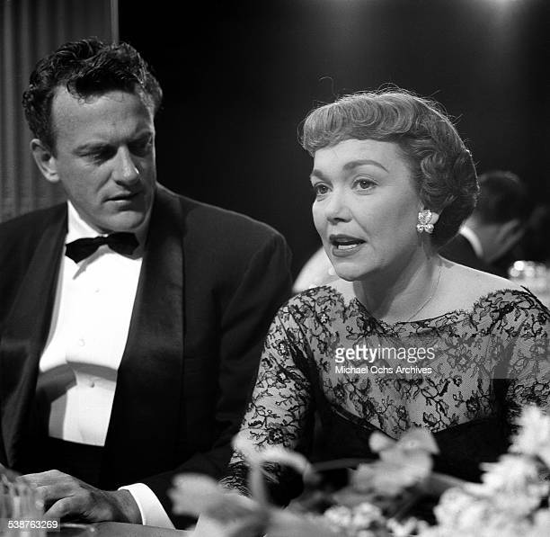 Actress Jane Wyman and actor James Arness attend the Emmy Awards in Los AngelesCA