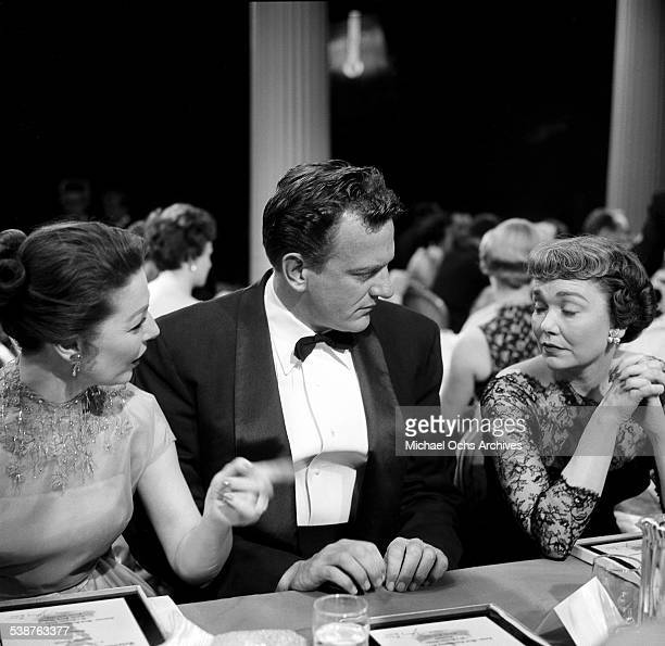 Actress Jane Wyman with Loretta Young and actor James Arness attend the Emmy Awards in Los AngelesCA