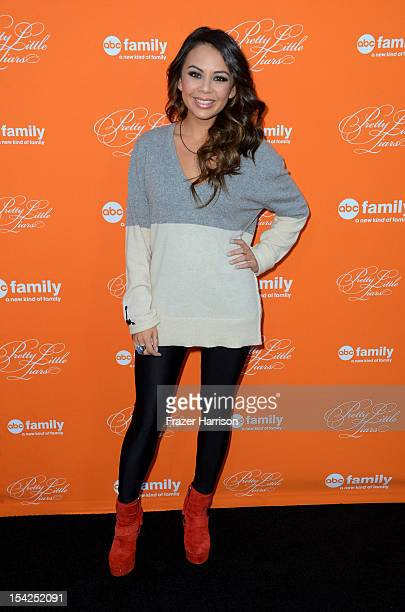 Actress Janel Parrish arrives at at the Screening Of ABC Family's 'Pretty Little Liars' Special Halloween Episode at Hollywood Forever Cemetery on...