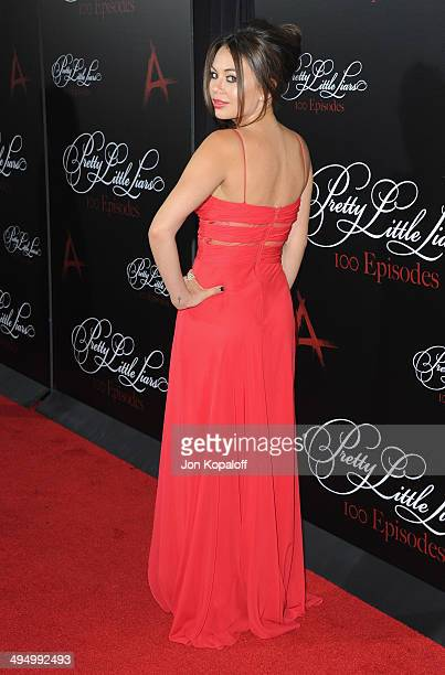 Actress Janel Parrish arrives at 'Pretty Little Liars' Celebrates 100 Episodes at W Hollywood on May 31 2014 in Hollywood California