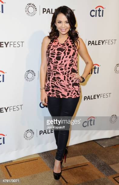 Actress Janel Parrish arrives at the 2014 PaleyFest 'Pretty Little Liars at Dolby Theatre on March 16 2014 in Hollywood California