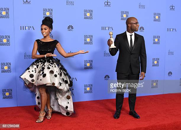 TOPSHOT Actress Janelle Monae and director Barry Jenkins of 'Moonlight' winner of Best Motion Picture Drama pose in the press room during the 74th...