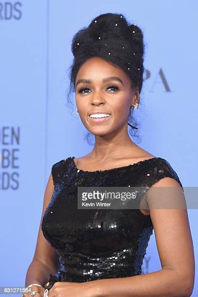 Actress Janelle Monae of 'Moonlight' winner of Best Motion Picture Drama poses in the press room during the 74th Annual Golden Globe Awards at The...