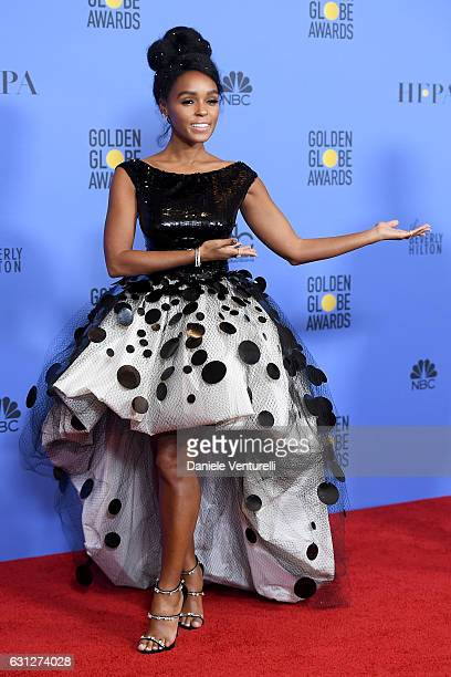 Actress Janelle Monae poses in the press room during the 74th Annual Golden Globe Awards at The Beverly Hilton Hotel on January 8 2017 in Beverly...