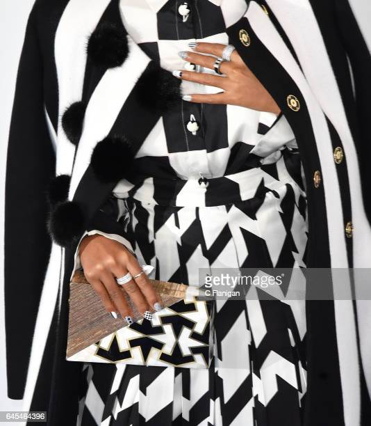 Actress Janelle Monae purse and jewelry detail attends the 2017 Film Independent Spirit Awards at the Santa Monica Pier on February 25 2017 in Santa...