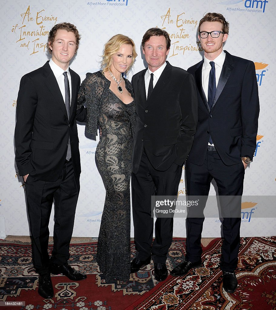 Actress Janet Jones Gretzky, Wayne Gretzky and sons attend the 10th Annual Alfred Mann Foundation Gala at 9900 Wilshire Blvd on October 13, 2013 in Beverly Hills, California.