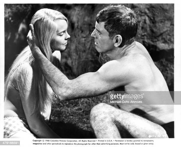 Actress Janet Landgard and actor Burt Lancaster in a scene from the Columbia Pictures movie 'The Swimmer' circa 1968
