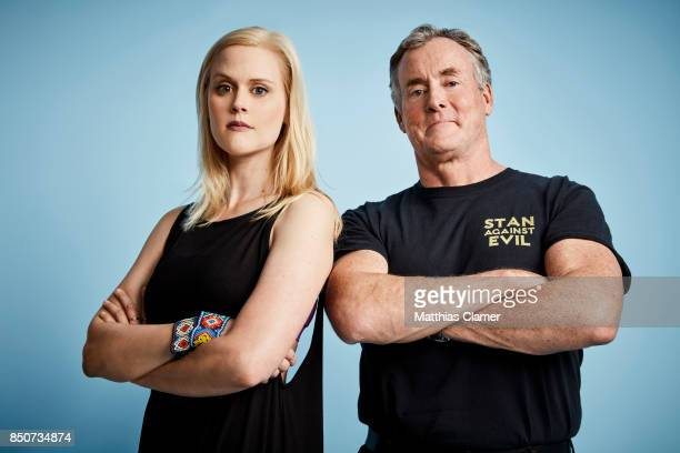 Actress Janet Varney and actor John C McGinley from Stan Against Evil are photographed for Entertainment Weekly Magazine on July 20 2017 at Comic Con...