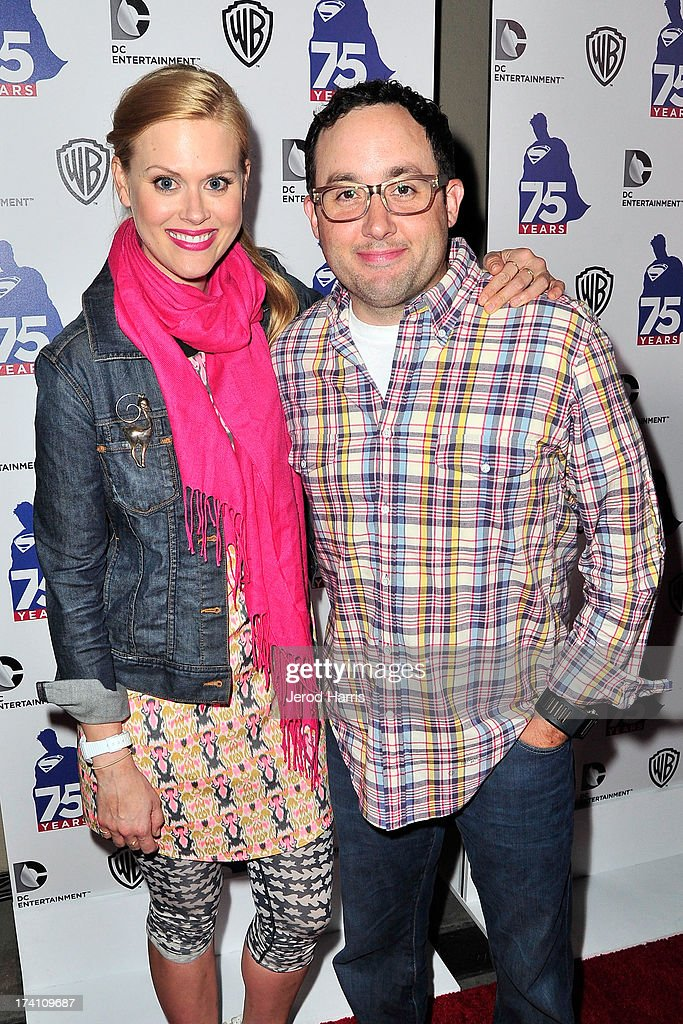Actress Janet Varney and actor P. J. Byrne arrive at DC Entertainment and Warner Bros. host Superman 75 party at San Diego Comic-Con at Hard Rock Hotel San Diego on July 19, 2013 in San Diego, California. Celebrities, executives and comic book creators packed the Hard Rock Hotel's Float Bar in downtown San Diego Friday night to celebrate 75 years of Superman. The guest list included a who's who of Hollywood elite and Superman lore, from its current comic creators to the original 1978 film to the current Man of Steel, Henry Cavill.