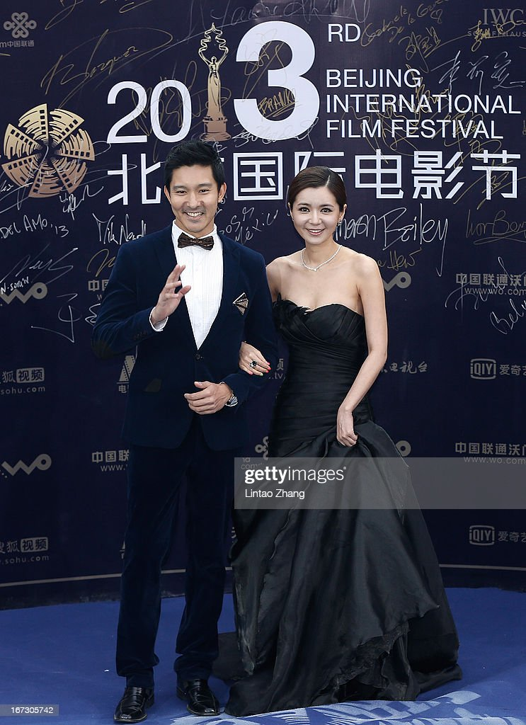 Actress Jang Seo Hee and actor Leon Jay Williams arrive at the closing ceremony red carpet during the 3rd Beijing International Film Festival at China National Convention Center on April 23, 2013 in Beijing, China.
