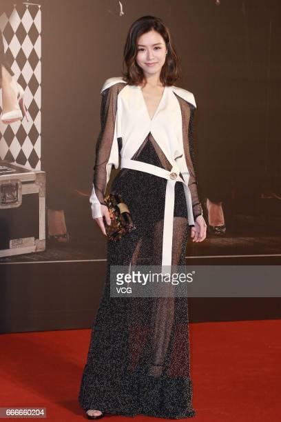 Actress Janice Man poses on red carpet at the 36th Hong Kong Film Awards ceremony at Hong Kong Cultural Centre on April 9 2017 in Hong Kong China