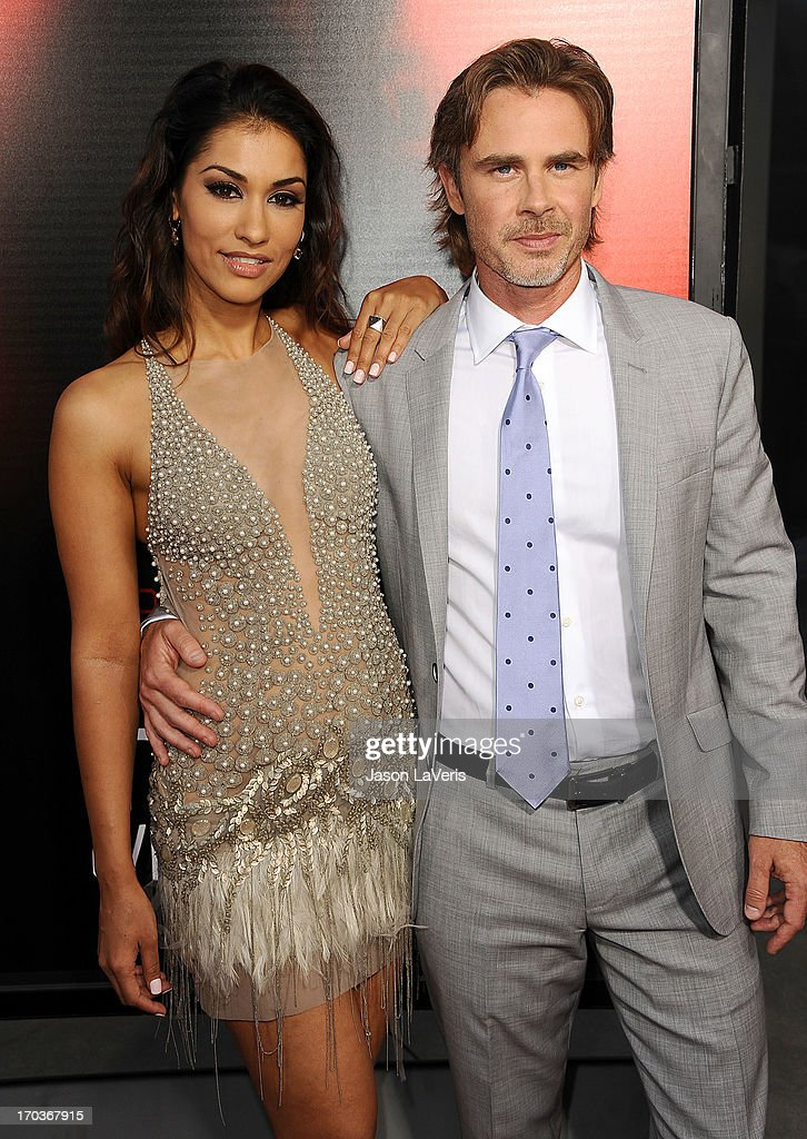 Actress Janina Gavankar and actor Sam Trammell attend the season 6 premiere of HBO's 'True Blood' at ArcLight Cinemas Cinerama Dome on June 11, 2013 in Hollywood, California.