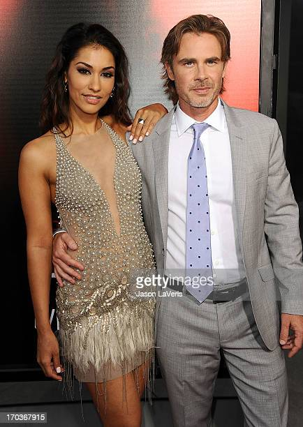 Actress Janina Gavankar and actor Sam Trammell attend the season 6 premiere of HBO's 'True Blood' at ArcLight Cinemas Cinerama Dome on June 11 2013...