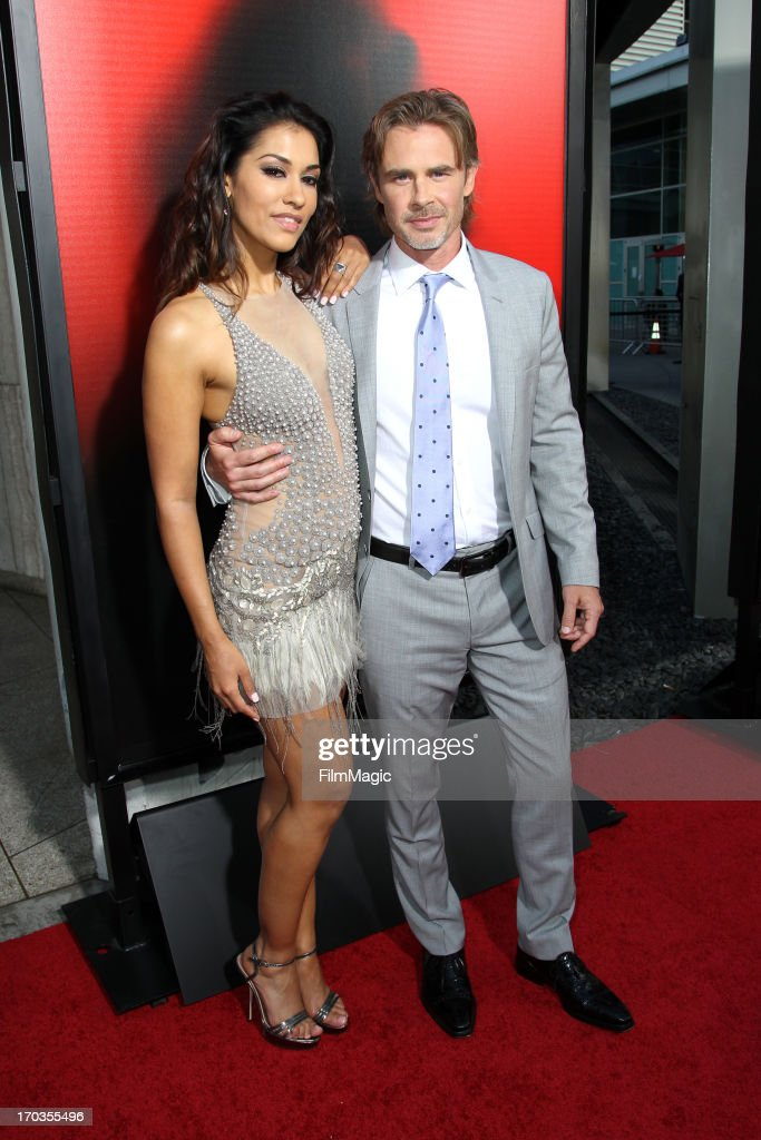 Actress Janina Gavankar (L) and Sam Trammell attend HBO's 'True Blood' season 6 premiere at ArcLight Cinemas Cinerama Dome on June 11, 2013 in Hollywood, California.