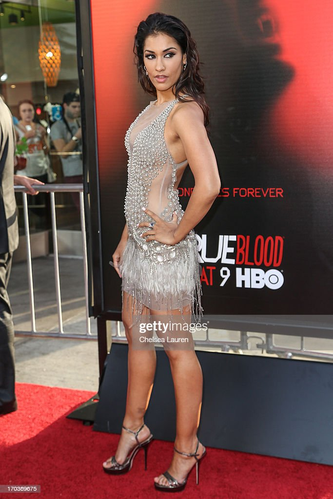 Actress Janina Gavankar arrives at HBO's 'True Blood' season 6 premiere at ArcLight Cinemas Cinerama Dome on June 11, 2013 in Hollywood, California.